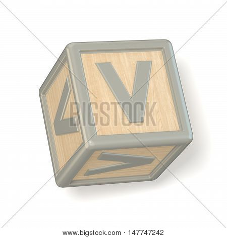 Letter V Wooden Alphabet Blocks Font Rotated. 3D