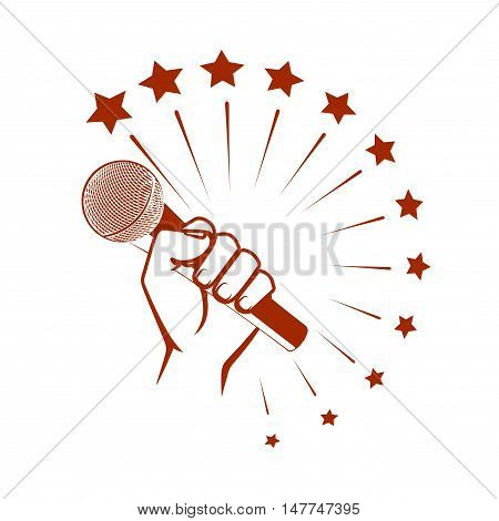 On the image it is presented microphone in a hand