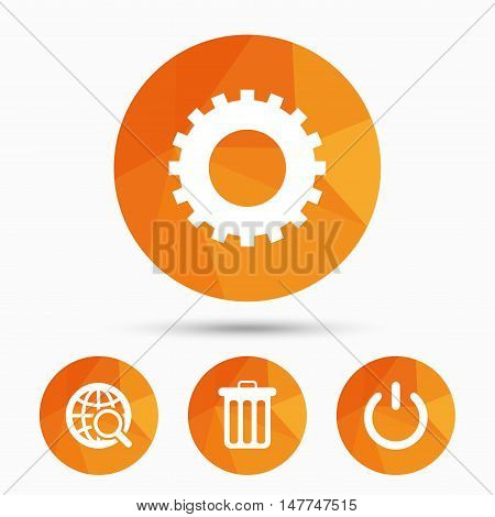 Globe magnifier glass and cogwheel gear icons. Recycle bin delete and power sign symbols. Triangular low poly buttons with shadow. Vector