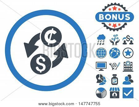Dollar Cent Exchange icon with bonus images. Vector illustration style is flat iconic bicolor symbols, smooth blue colors, white background.