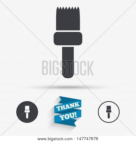 Paint brush sign icon. Artist symbol. Flat icons. Buttons with icons. Thank you ribbon. Vector