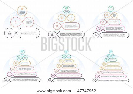 Outline pyramids with 3 - 8 steps, levels. Vector design elements