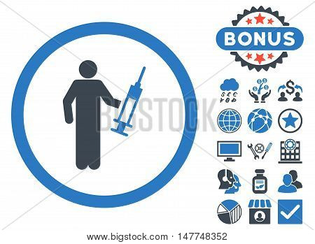 Drug Dealer icon with bonus pictogram. Vector illustration style is flat iconic bicolor symbols, smooth blue colors, white background.