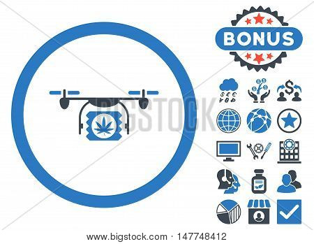 Drugs Drone Shipment icon with bonus design elements. Vector illustration style is flat iconic bicolor symbols, smooth blue colors, white background.