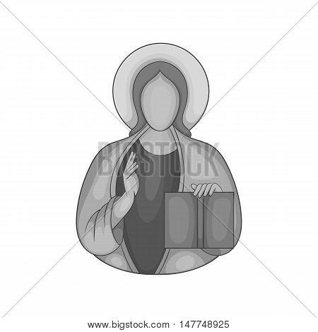 Jesus Christ icon in black monochrome style isolated on white background. Religion symbol vector illustration