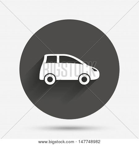 Car sign icon. Hatchback symbol. Transport. Circle flat button with shadow. Vector