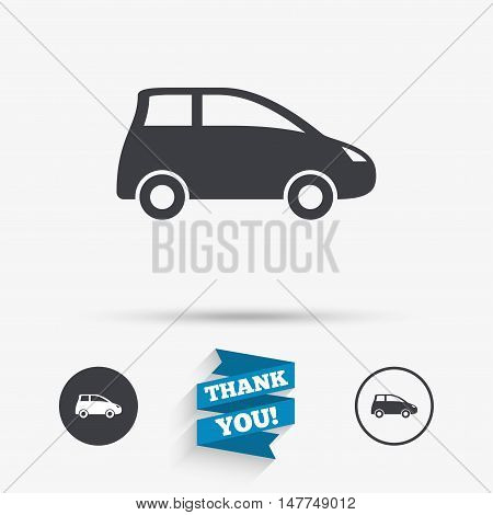Car sign icon. Hatchback symbol. Transport. Flat icons. Buttons with icons. Thank you ribbon. Vector