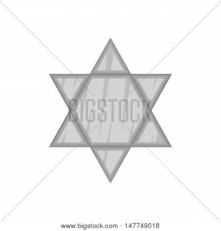 Star Of David icon in black monochrome style isolated on white background. Religion symbol vector illustration