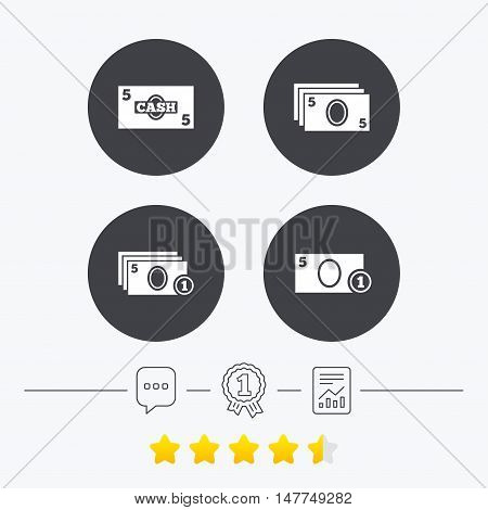 Businessman case icons. Currency with coins sign symbols. Chat, award medal and report linear icons. Star vote ranking. Vector