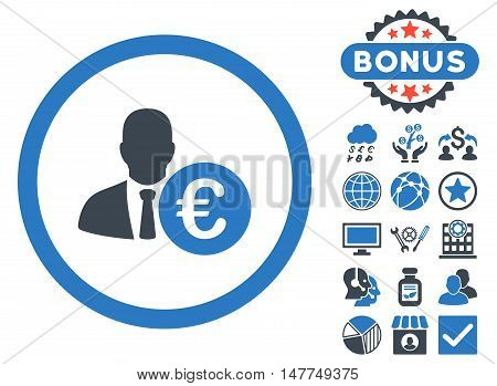 Euro Banker icon with bonus images. Vector illustration style is flat iconic bicolor symbols, smooth blue colors, white background.
