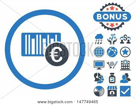 Euro Barcode icon with bonus symbols. Vector illustration style is flat iconic bicolor symbols, smooth blue colors, white background.