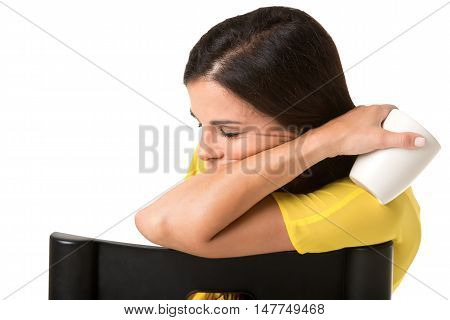 Businesswoman Sitting In A Chair Sleeping