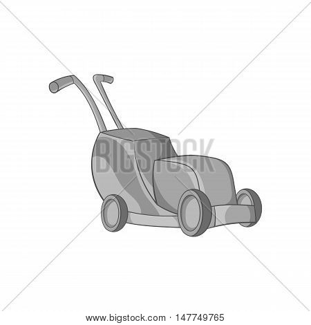 Lawnmower icon in black monochrome style isolated on white background. Garden symbol vector illustration