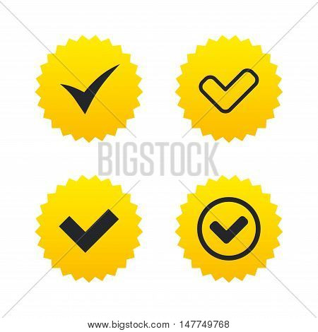 Check icons. Checkbox confirm circle sign symbols. Yellow stars labels with flat icons. Vector