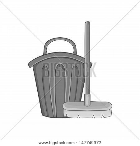 Brush and bucket icon in black monochrome style isolated on white background. Cleaning symbol vector illustration
