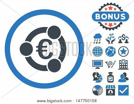 Euro Collaboration icon with bonus pictures. Vector illustration style is flat iconic bicolor symbols, smooth blue colors, white background.