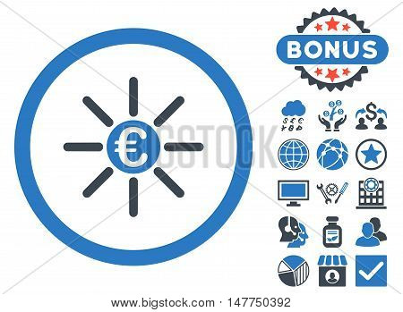 Euro Distribution icon with bonus elements. Vector illustration style is flat iconic bicolor symbols, smooth blue colors, white background.