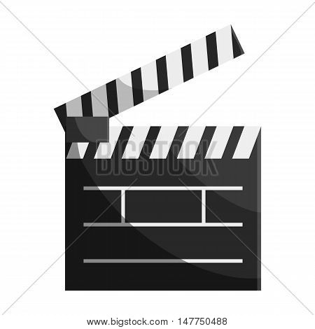 Clapperboard icon in black monochrome style isolated on white background. Film symbol vector illustration