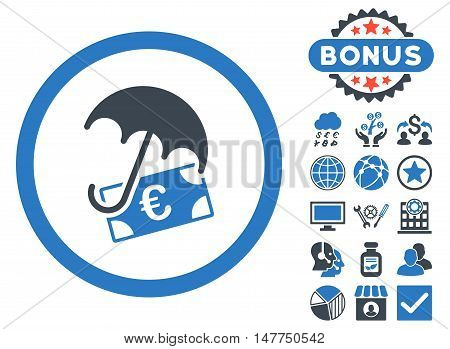 Euro Financial Umbrella icon with bonus symbols. Vector illustration style is flat iconic bicolor symbols, smooth blue colors, white background.