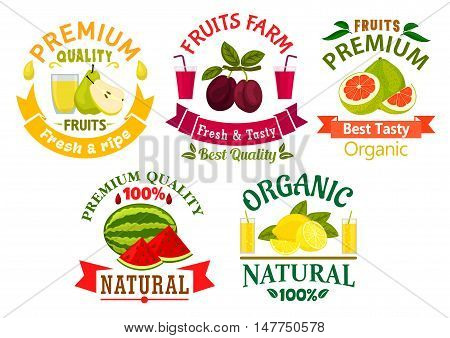 Natural organic fruits badges with fresh lemon, grapefruit, plum, pear, watermelon fruits with glasses of juice, adorned by green leaves and ribbon banners