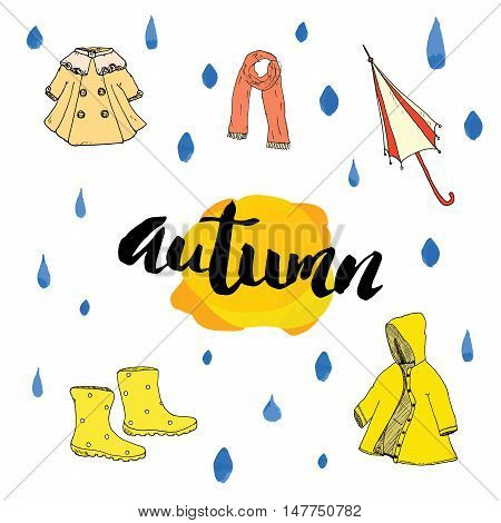 Autumn season set. Hand drawn doodles and lettering vector illustration