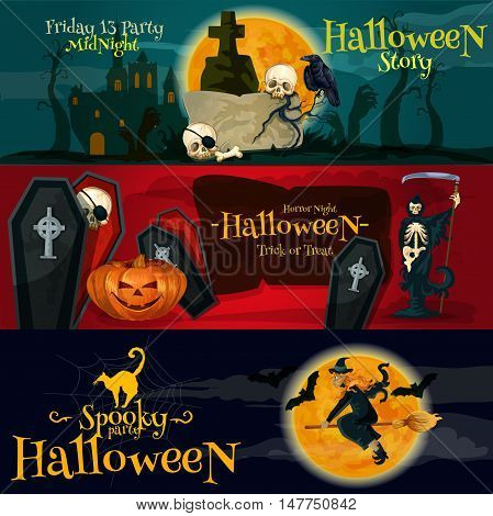Cartoon Halloween party vector banners and posters with greeting and ivitation text. Friday 13 gravestone, Horror Night coffins and skeletons, Spooky Halloween witch on broom and black cat, midnight moon, bats silhouettes