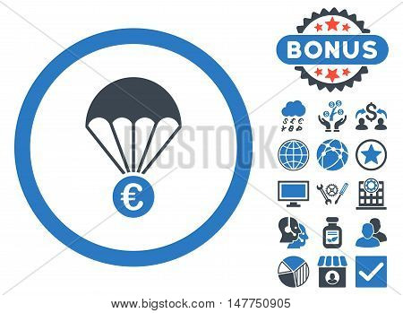 Euro Parachute icon with bonus design elements. Vector illustration style is flat iconic bicolor symbols, smooth blue colors, white background.