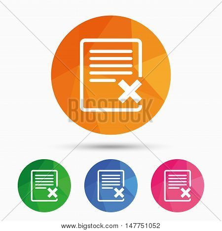 Delete file sign icon. Remove document symbol. Triangular low poly button with flat icon. Vector