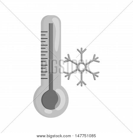 Thermometer with low temperature icon in black monochrome style isolated on white background. Measurement symbol vector illustration