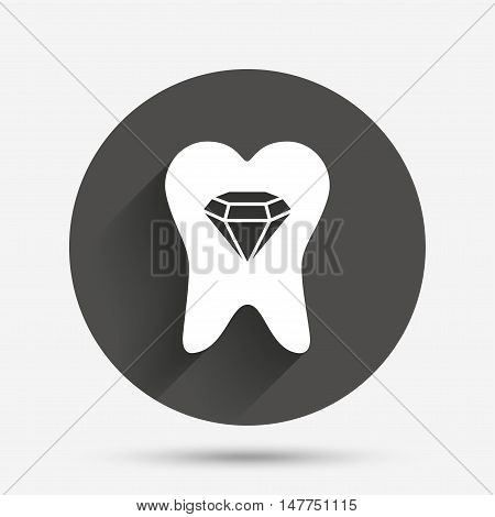 Tooth crystal icon. Tooth jewellery sign. Dental prestige symbol. Circle flat button with shadow. Vector