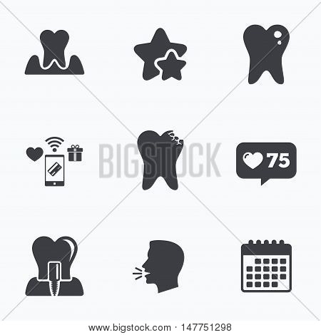 Dental care icons. Caries tooth sign. Tooth endosseous implant symbol. Parodontosis gingivitis sign. Flat talking head, calendar icons. Stars, like counter icons. Vector