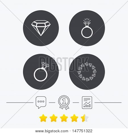 Rings icons. Jewelry with shine diamond signs. Wedding or engagement symbols. Chat, award medal and report linear icons. Star vote ranking. Vector