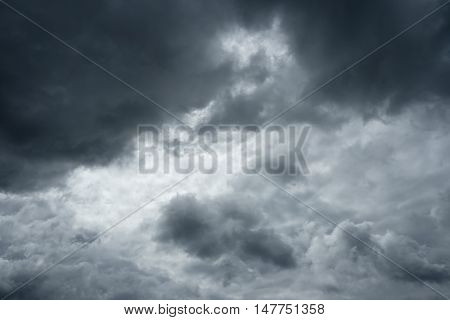 Clouds before a thunderstorm. Storm clouds sky over horizon.