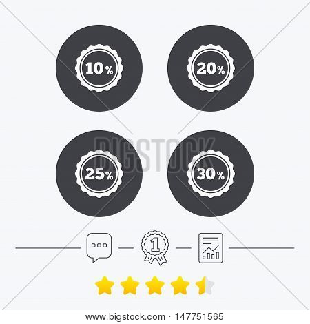 Sale discount icons. Special offer stamp price signs. 10, 20, 25 and 30 percent off reduction symbols. Chat, award medal and report linear icons. Star vote ranking. Vector
