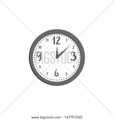Wall clock icon in black monochrome style isolated on white background. Time symbol vector illustration