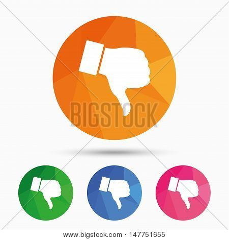 Dislike sign icon. Thumb down sign. Hand finger down symbol. Triangular low poly button with flat icon. Vector