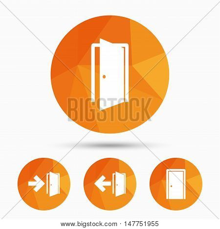 Doors icons. Emergency exit with arrow symbols. Fire exit signs. Triangular low poly buttons with shadow. Vector