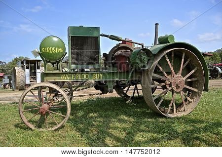 ROLLAG, MINNESOTA, Sept 1. 2016: The historic Waterloo Boy tractor by John Deere is displayed at the West Central Steam Threshers Reunion in Rollag, MN attended by 1000's held annually on Labor Day weekend.