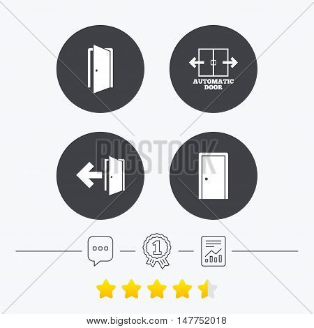 Automatic door icon. Emergency exit with arrow symbols. Fire exit signs. Chat, award medal and report linear icons. Star vote ranking. Vector