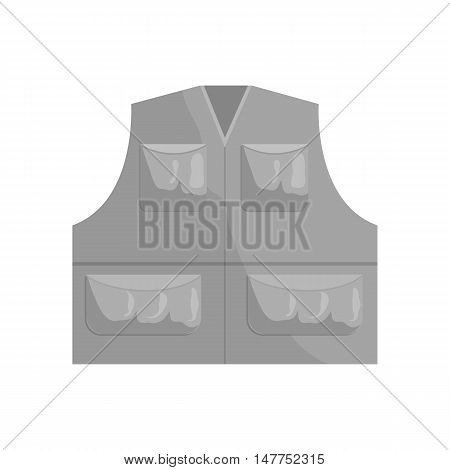 Hunter vest icon in black monochrome style isolated on white background vector illustration