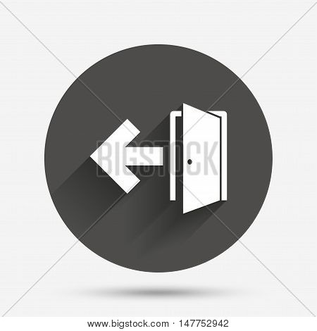 Emergency exit sign icon. Door with left arrow symbol. Fire exit. Circle flat button with shadow. Vector