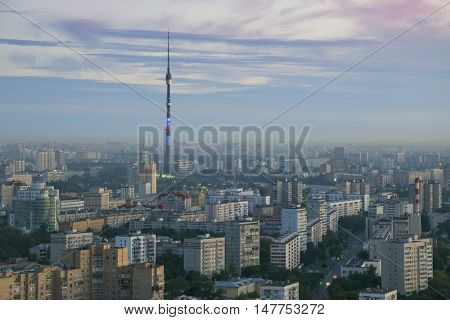 Ostankino tv tower, residential buildings at morning in Moscow, Russia, panoramic view