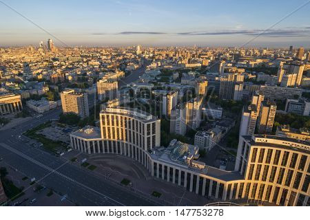 View from Business Center Domnikov to Sakharov avenue at sunrise in Moscow, Russia