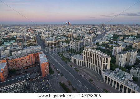 View from Business Center Domnikov to Sakharov avenue at morning in Moscow, Russia