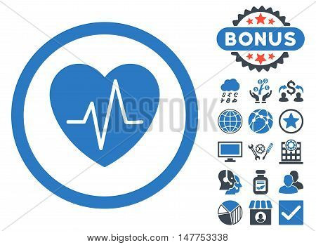 Heart Ekg icon with bonus elements. Vector illustration style is flat iconic bicolor symbols, smooth blue colors, white background.