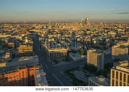 View from Business Center Domnikov to Sakharov avenue at sunny morning in Moscow, Russia