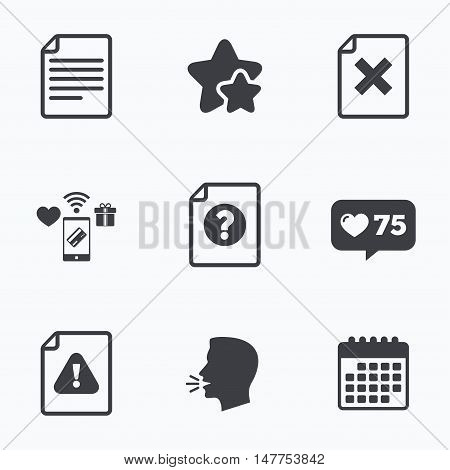 File attention icons. Document delete symbols. Question mark sign. Flat talking head, calendar icons. Stars, like counter icons. Vector