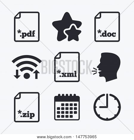 Download document icons. File extensions symbols. PDF, ZIP zipped, XML and DOC signs. Wifi internet, favorite stars, calendar and clock. Talking head. Vector