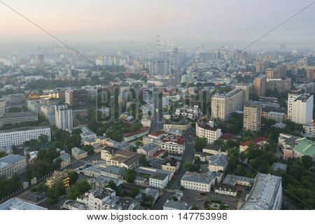Residential area and panoramic view in morning Moscow, Russia, Tagansky district