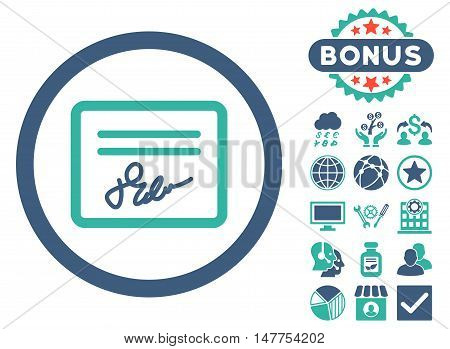 Agreement icon with bonus pictogram. Vector illustration style is flat iconic bicolor symbols, cobalt and cyan colors, white background.